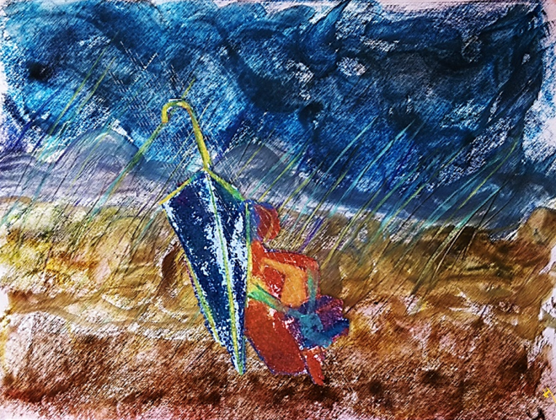 Woman in rain with umbrella
