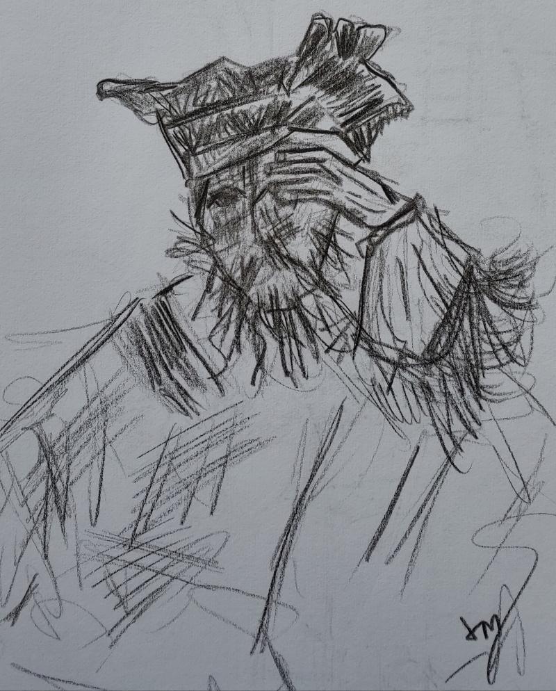 Man peering