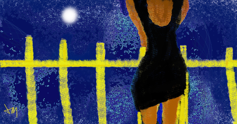Woman by yellow fence3